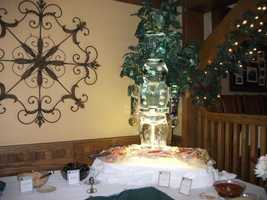 The toy soldier ice sculpture is beautiful for the holiday and winter themed wedding reception. (Chetola Resort at Blowing Rock)