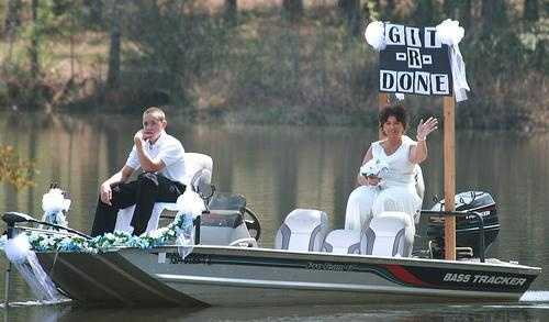 "The only way for the ""Redneck Wedding"" bride to make her entrance is on a fishing boat."