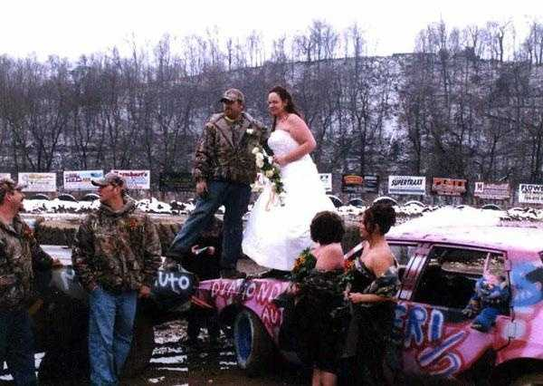 "Snow and mud just adds to a ""Redneck Weddings"" reception and fun."