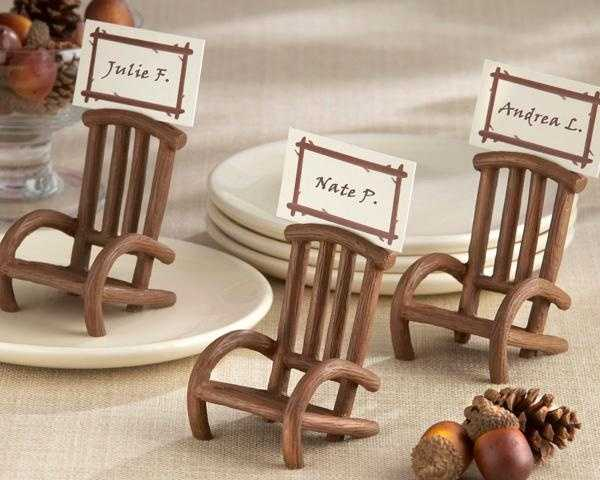These are great seating name card holders. Rocking chairs would be nice too. These can also be given as gifts to the guests.