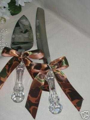"This knife and cake set is made ""Redneck"" for the theme by adding camouflage fabric."