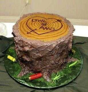 The stump cake with nice craving look for the couples initials, heart and shotgun castings is different.