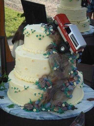 "Mud and a truck is what it's all about! This cake is part traditional, but nicely done ""Redneck"" theme part too."