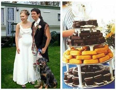 """Redneck Wedding Theme"" with the family pet, flannel and the jacket's arms cut out. Don't forget the layered Hostess goodies with a wedding topper."