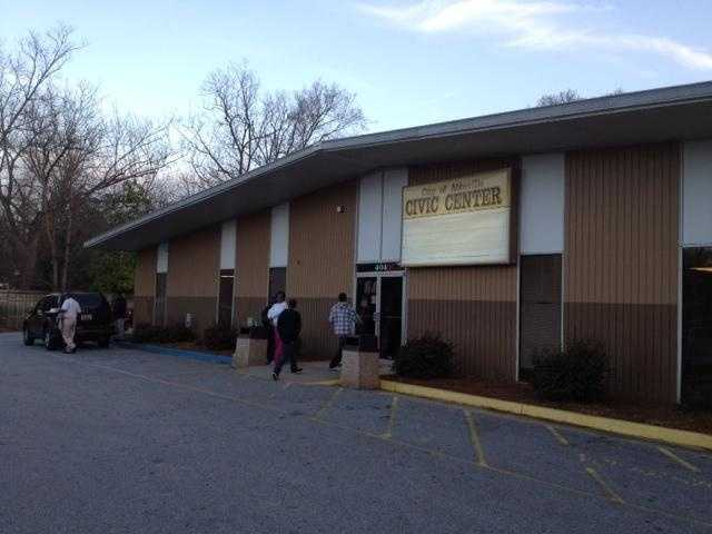 Evacuees are being directed to the Red Cross shelter set up at the Abbeville Civic Center.
