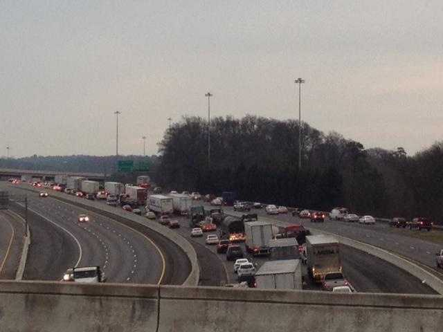 I 85 N is backed up from the Laurens Rd. exit to Augusta St. exit.  That's almost three miles.