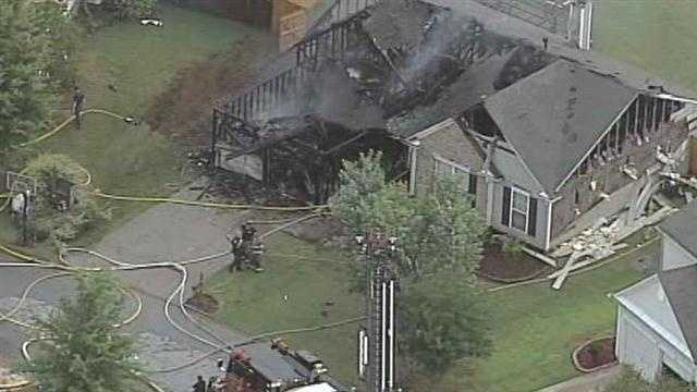 Fire destroyed a home in Simpsonville Monday morning.