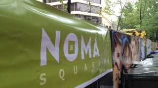 The space in front of the Hyatt is called NOMA Square. NOMA stands for North on Main.