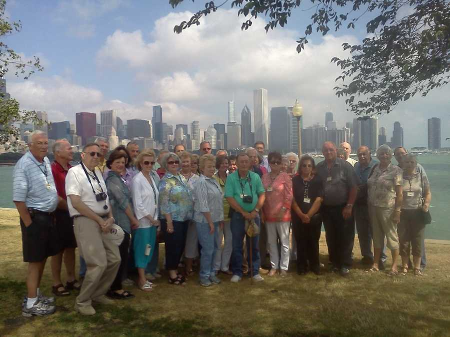 The whole group with skyline