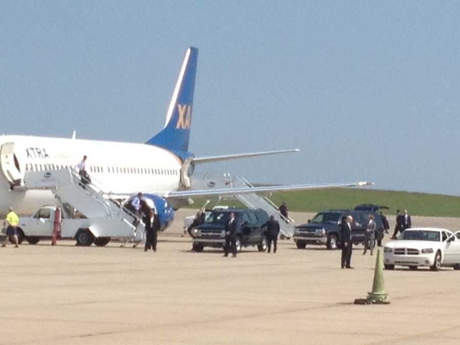 Mitt Romney arrived at GSP just before 11:30 a.m