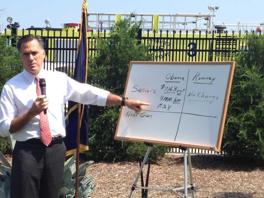Mitt Romney spoke to reporters outside GSP.