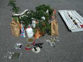 Here is some of the evidence taken in the raid. Authorities said the charges include distribution of meth, marijuana, prescription drugs, crack cocaine and cocaine.