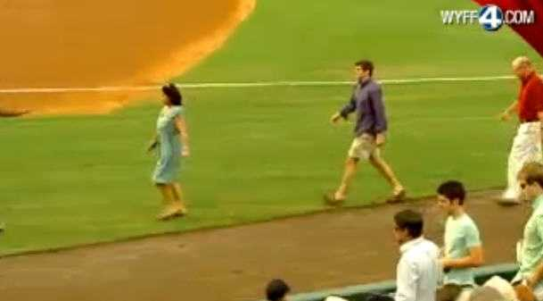During the third inning - the family got called to the field