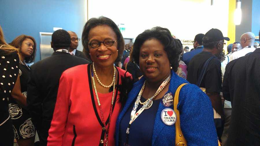 State Representative Chanda Dillard (right) is a Greenville County delegate at the DNC.