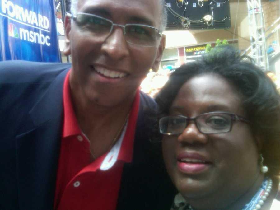 Rep. Chandra Dillard and Michael Steel at MSNBC holding area.