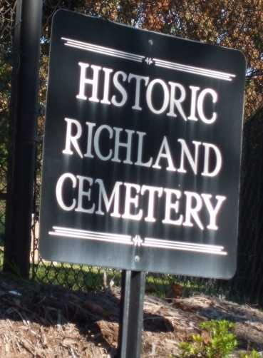Richland Cemetery: One of the first African American cemeteries in Greenville was named for Richland Creek, a branch of the Reedy River. The property was deeded to Greenville for $2,125 in 1884 by Miss Elizabeth and Emmala Jones, who were matrons at the Anne Cigar Company. The first mention of the property as Richland Cemetery was in 1896. The origin of the creek's name is not known.