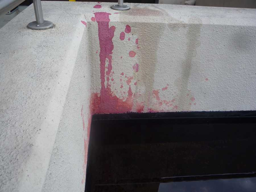 Police said the dye caused a stain on one of the walls.