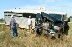 SUV and pickup hauling horse trailer crash head-on in Anderson County.