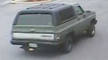 Police said left the Asheville bank in a 1980s model Chevy K-5 Blazer.