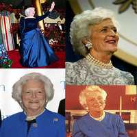 Many political figures including Abraham Lincoln, Winston Churchill, FDR, JFK, Bill Clinton and Barbara Bush showed up, though neither Mrs. Bush's husband nor son made the list.