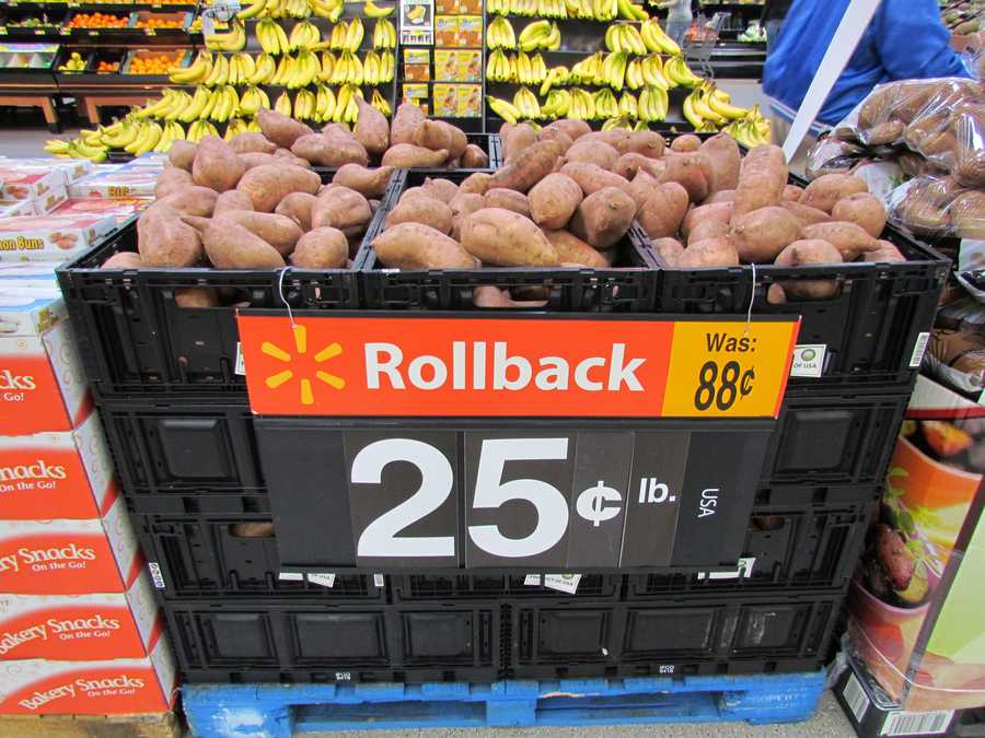 Walmart has rolled back the price on sweet potatoes from .88 per pound to .25 per pound.