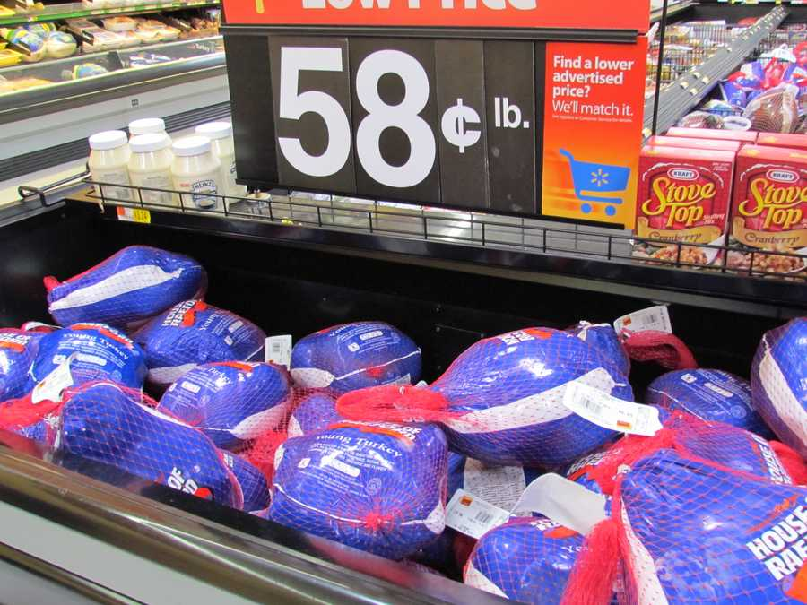 Walmart's Grade A frozen turkeys are .58 per pound, but they will also match any lower advertised price.