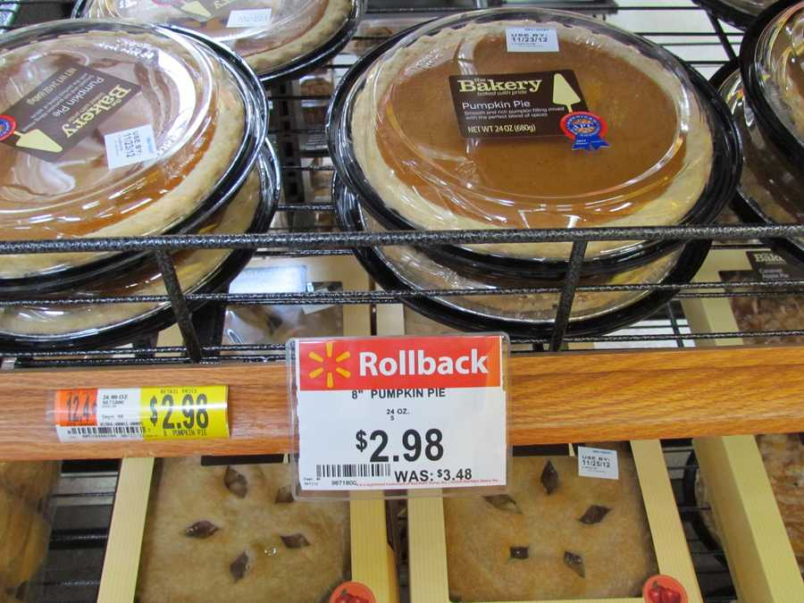 Walmart's pumpkin pies are $2.98, rolled back from $3.48.