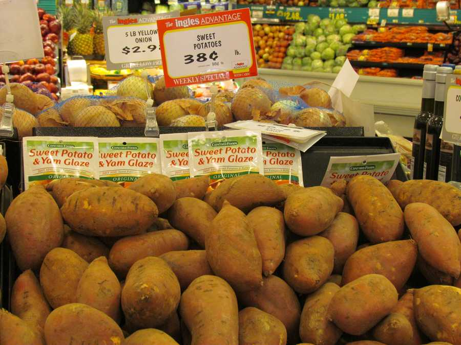 Ingles' sweet potatoes are .38 per pound with the bonus card.