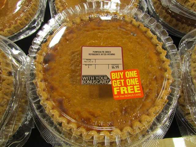 BI-LO's pumpkin pies are buy one, get one free at $6.99, with card. BI-LO is open 7 a.m. to 7 p.m. Thanksgiving Day.