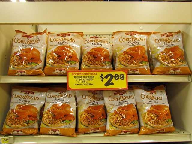 Pepperidge Farm stuffing mix is $2.69 per bag at BI-LO, with card.
