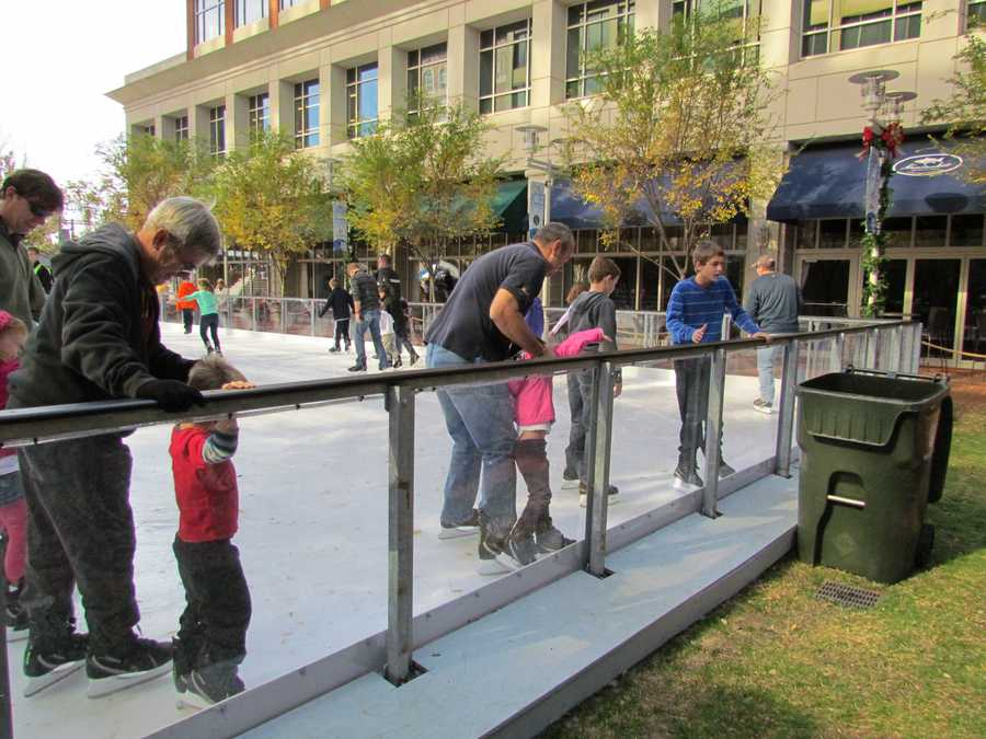 The 3,200 square foot rink is located next to Greenville City Hall on the Village Green at Main and Broad