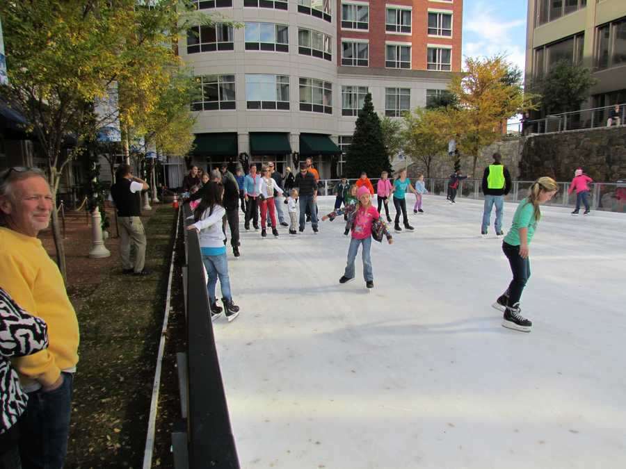 Admission to Greenville Technical College Ice on Main is $10 per adult and $8 per child (12 and under).