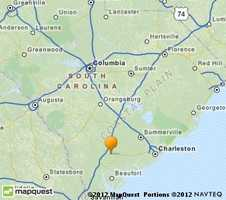 Walterboro is along I-95 west of Charleston.