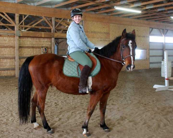 She's been riding horses since age 5 and was a competitive rider in high school.