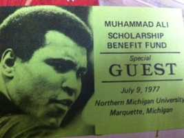 """Carol once sang """"The Star Spangled Banner"""" solo at Muhammad Ali exhibition boxing match. This was her pass to the event."""