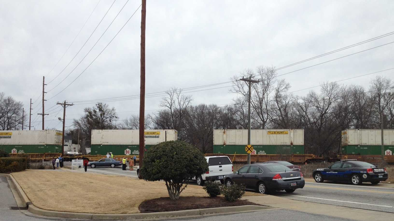 A woman was killed when she was struck by a train near downtown Spartanburg.