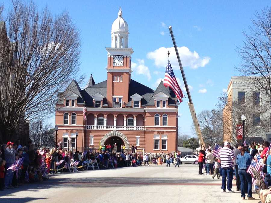 The city of Elberton, Ga. held a special send-off parade in their town square Friday.