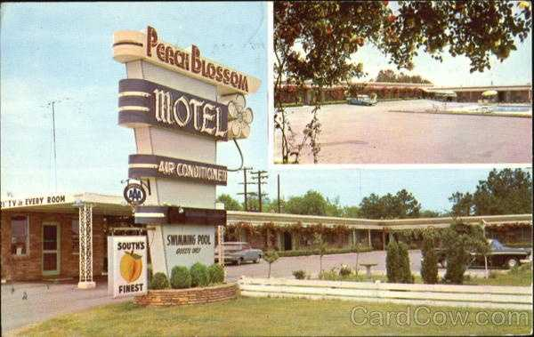 Peach Blossom Motel, Interstate Highway 85 at SC 9: Color T. V. - Phones and Swimming Pool - Restaurant - Excellent Food