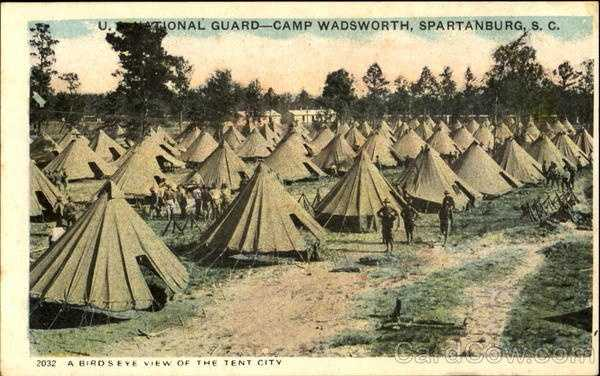 Bird's eye view of the tent city (Camp Wadsworth, Spartanburg)