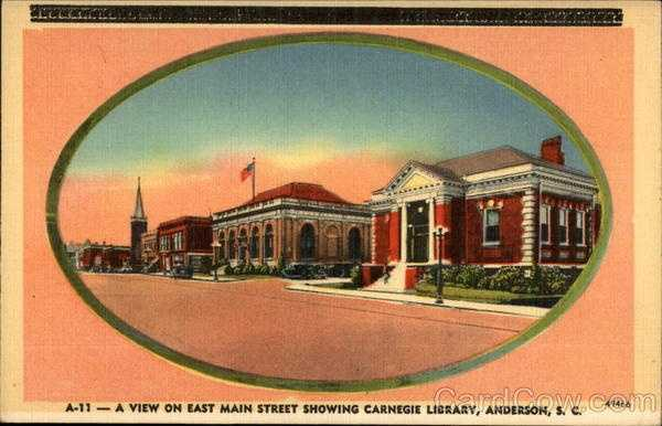 A view on East Main Street showing Carnegie Library