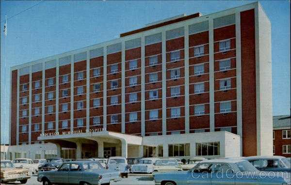 Anderson Memorial Hospital: This institution was founded originally in 1906 and grew from 25 beds to 425 beds in 1963 when new building was completed. This is a general non-profit hospital serving Anderson County and surrounding areas, averaging 19,000 patients per year