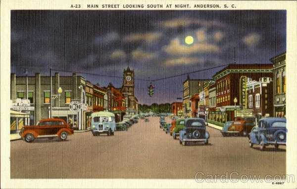 Anderson Main Street Looking South at Night