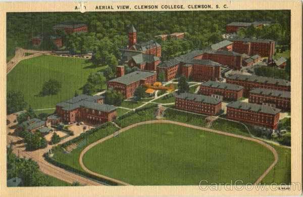 Aerial View, Clemson College: Clemson College, the south Carolina A & M College, was founded in 1889, made possible by the bequest of Thomas G. Clemson, and was opened in 1893. Clemson is an all-men college with an enrollment of 3,500 students. Major degrees are presented in Agriculture, Engineering, Textiles, Chemistry, Education, and Arts and Sciences.