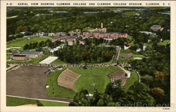 Aerial View Showing Clemson College and Clemson College Stadium: Clemson College, the South Carolina A & M College, was founded in 1889, made possible by the bequest of Thomas G. Clemson, and was opened in 1893. Clemson is an all-men college with an enrollment of 3,500 students. Major degrees are presented in Agriculture, Engineering, Textiles, Chemistry, Education, and Arts and Sciences