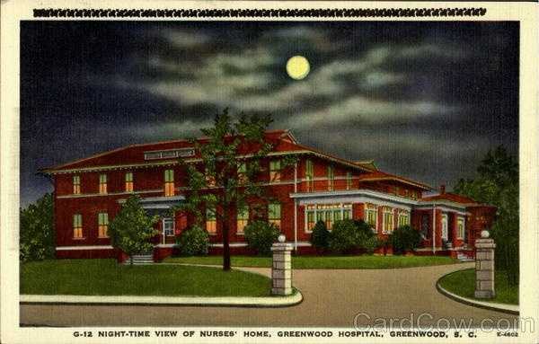 Night time view of Nurses Home, Greewood Hospital