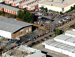 Sky 4 flew over the Blind Horse Saloon as hundreds waited to get in.