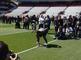 It's Pro Day at the University of South Carolina. A day when NFL eligible athletes get to show off their skills to NFL scouts.