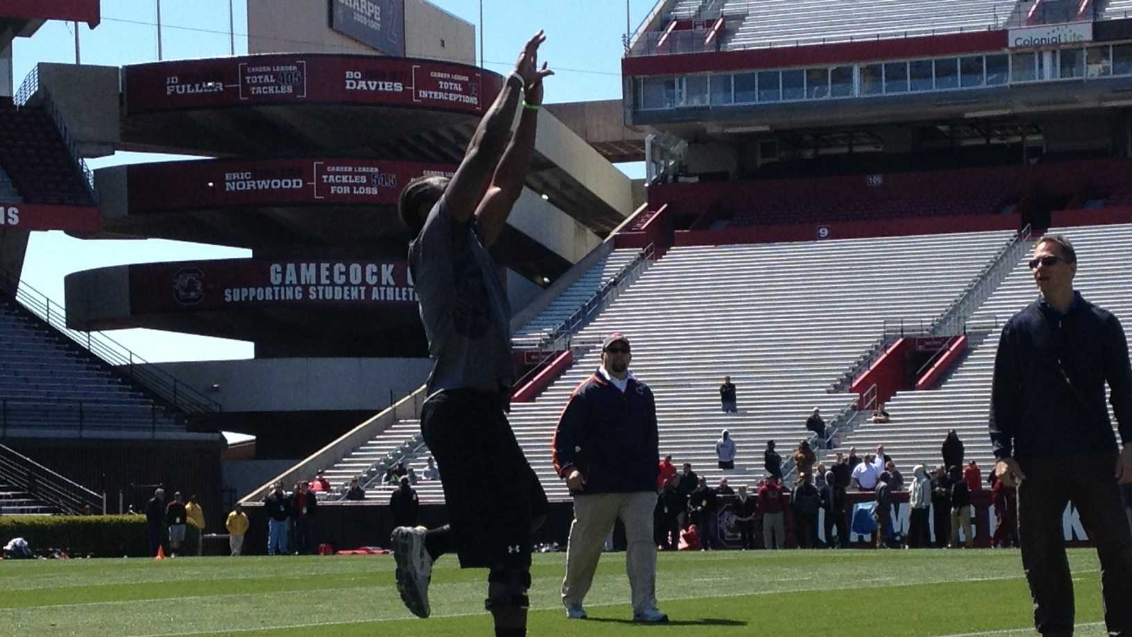 Here is Marcus Lattimore during the Pro Day.