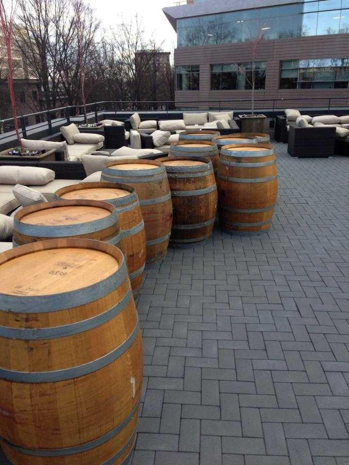 These barrels will be made into bar tables.
