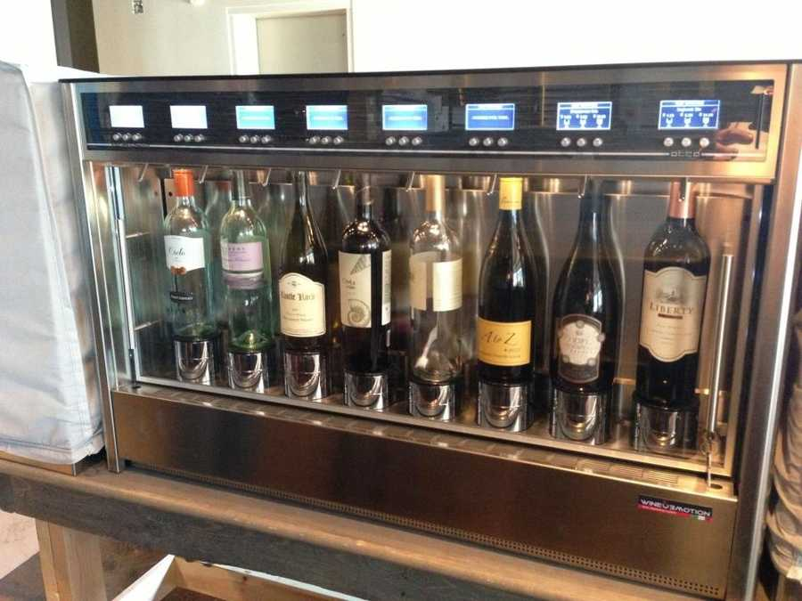 The pressurized wine serving system will pour 2-, 4- and 6-ounce glasses. More than 50 wines will be offered by the glass.